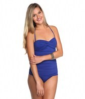 Tommy Bahama Pearl Solids Shirred Twist Front One Piece Swimsuit