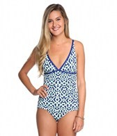 Tommy Bahama Malibu Medallion V-Neck One Piece Swimsuit