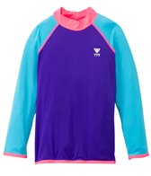 TYR Girls' UPF 50+ Long Sleeve Solid Rashguard (4yrs-16yrs)