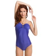 Vix Solid Blue Bandeau One Piece Swimsuit