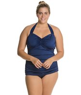 Esther Williams Plus Size Solid Classic Sheath One Piece Swimsuit