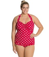 Esther Williams Plus Size Polka Dot Classic Sheath One Piece Swimsuit