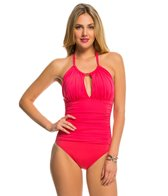 Kenneth Cole Strappy Hour Solid High Neck One Piece Swimsuit