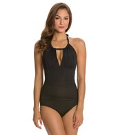 Kenneth Cole Strappy Hour Solid High Neck One Piece