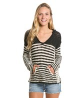 Roxy White Caps Stripe Poncho Sweater