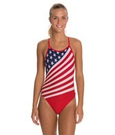 TYR American Flag Female Crosscutfit One Piece Swimsuit