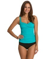 Sunsets Tropical Teal Shirred Front Tankini Top