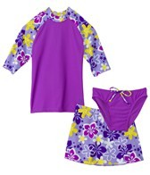 Tuga Girls' Happy Hibiscus 3 Piece Rashguard Set (2-14)