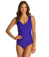 Athena Cabana Solids Draped One Piece Swimsuit