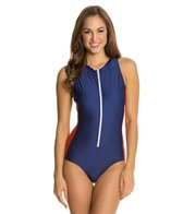 Splendid Sunblock Solid Zip Front One Piece Swimsuit