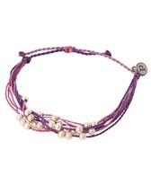 Pura Vida Platinum Beaded Purple Bracelet