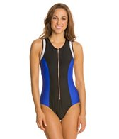 Luxe by Lisa Vogel On Your Mark Zip Front One Piece Swimsuit