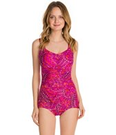 Maxine Ethnic Twist Shirred Front Girl Leg One Piece Swimsuit