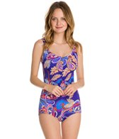 Maxine Paisley Swirl Shirred Front Girl Leg One Piece Swimsuit