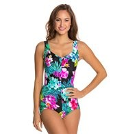 Maxine Waikiki Shirred Front Girl Leg One Piece Swimsuit