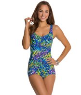 Maxine Garden Shirred Front Girl Leg One Piece Swimsuit