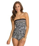 Maxine Border Skin Side Shirred Bandeau One Piece Swimsuit