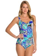 Maxine Bali Floral Shirred Front Girl Leg One Piece