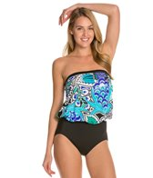 Maxine Bali Floral Bandeau Blouson One Piece Swimsuit