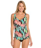 Maxine Linear Flower D/DD Cup Underwire Tankini Top