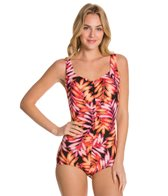 Maxine Tonal Leaf Shirred Front Girl Leg One Piece