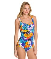 Maxine Mandalay Shirred Front Girl Leg One Piece Swimsuit