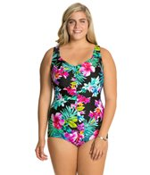 Maxine Plus Waiki Shirred Front Girl Leg One Piece Swimsuit
