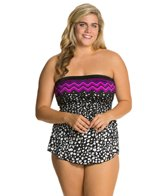 Maxine Plus In The Groove Bandeau Sarong One Piece Swimsuit