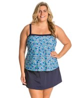 Maxine Plus Size Ikat Forever Bandeau Faux Skirtini One Piece Swimsuit