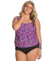 Maxine Plus Size Ikat Banded Scoop Tankini Top