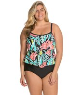 Maxine Plus Linear Flower Tiered One Piece Swimsuit