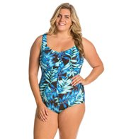 Maxine Plus Size Tonal Leaf Front Shirred Girl Leg One Piece Swimsuit