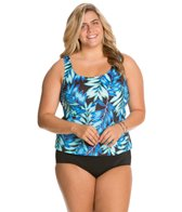 Maxine Plus Tonal Leaf Scoop Tankini Top