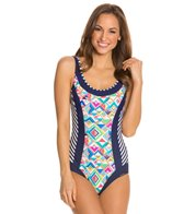 Sunmarin Flora Scoop Neck Spliced One Piece