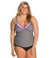 24th & Ocean Plus Size Moonlight Cruise Shirred Tankini Top
