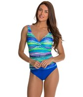 Beach Diva Electric Feel Mesh Surplice One Piece Swimsuit
