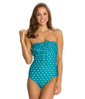 Beach Diva Hot Dot Ruffle Bandeau One Piece Swimsuit
