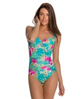 Beach Diva Island Hop Mesh Twisted Molded One Piece Swimsuit