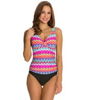 Beach Diva Fancy Tribe Surplice Shirred One Piece Swimsuit