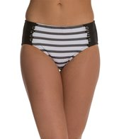 Maidenform Swimwear Beach Mesh Stripe High Waist Bikini Bottom