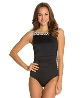 Reebok Fitness Black Diamond High Neck U-Back One Piece