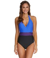 Speedo Color Blocked Halter One Piece