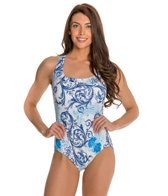 Longitude Royal Scroll Crossback Tank One Piece Swimsuit