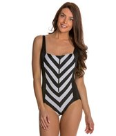 Longitude All Lined Up Squareneck Tank One Piece Swimsuit