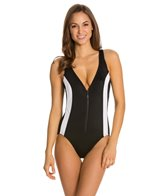 Longitude Colorblock Zip Front Tank One Piece Swimsuit