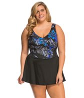 Longitude Plus Size Samurai Surplice Swimdress