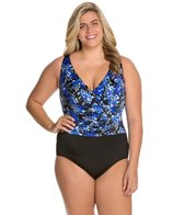 Longitude Plus Size Mini Garden Shirred Tank One Piece