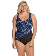 Longitude Plus Size Mini Garden Wrap Tank One Piece