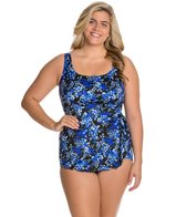 Longitude Plus Size Mini Garden Tank Sarong One Piece Swimsuit