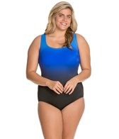 Longitude Plus Size Brians Ombre Strappy Tank One Piece Swimsuit